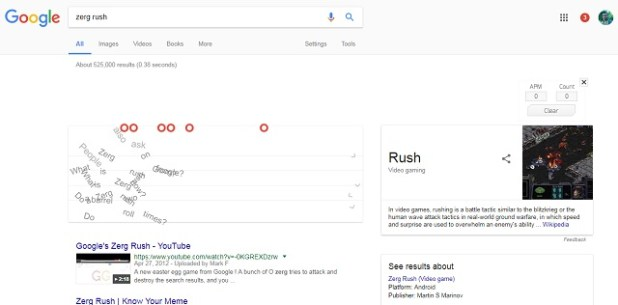 Google Gravity Zerg Rush