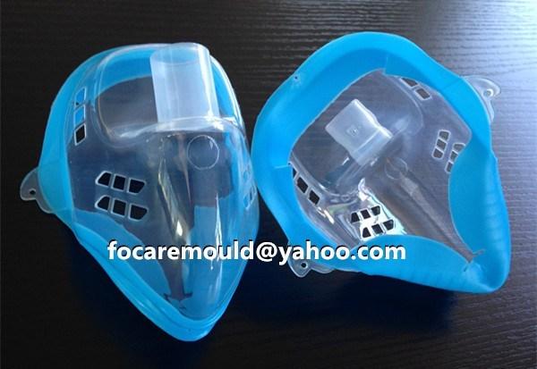 molde de mascara de oxigeno medico de dos colores