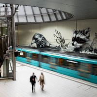 Graffiti in Frankfurt - Gemälde von Bacon in der U-Bahn-Station Festhalle/Messe