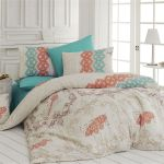 Dose Of Modern Pepela Turquoise Double Quilt Cover Set 164nzn1281 Turquoise Cream Orange