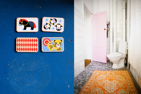 I´m crazy about this bathroom. Visable pipes, pink door, the floor, the rug. Gosh!