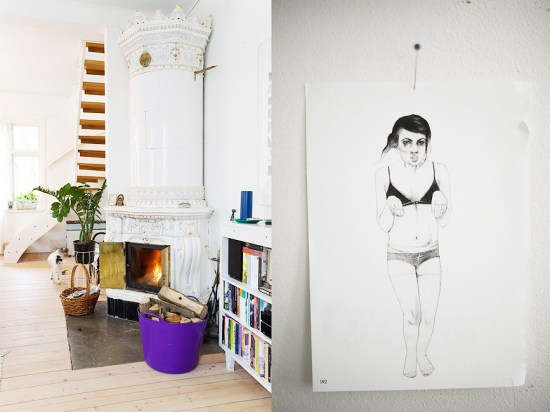 Illustration by Sara Eriksson ripped from a magazine and pinned to the wall.