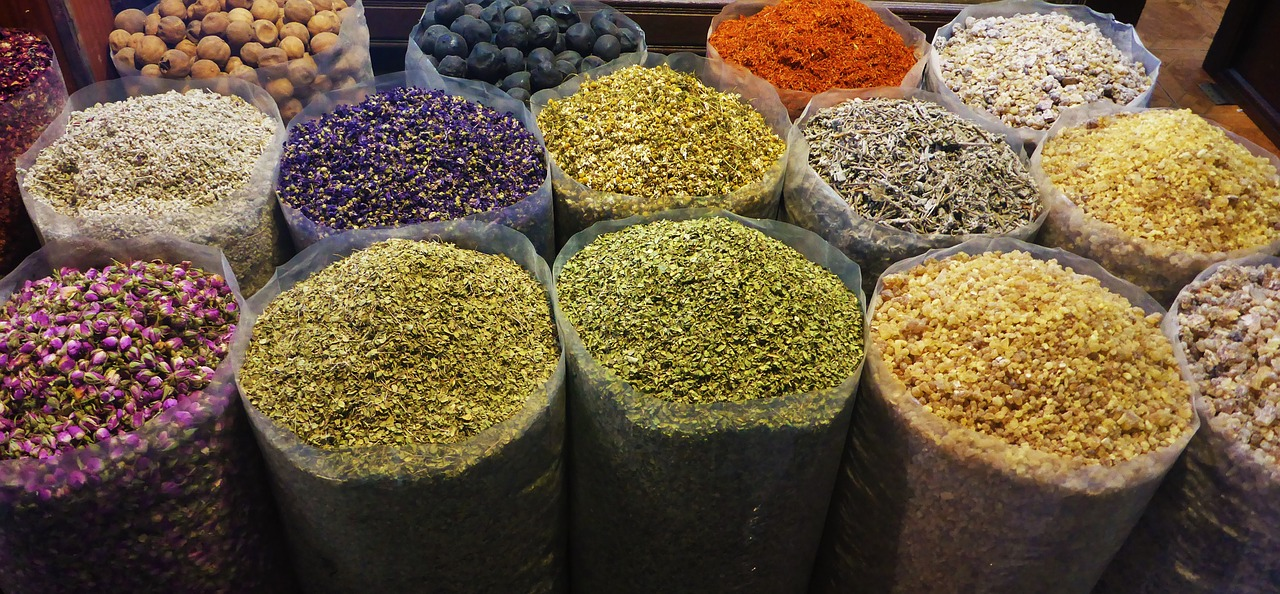 Photo of bags Indian herbs, spice, rices and food staples.