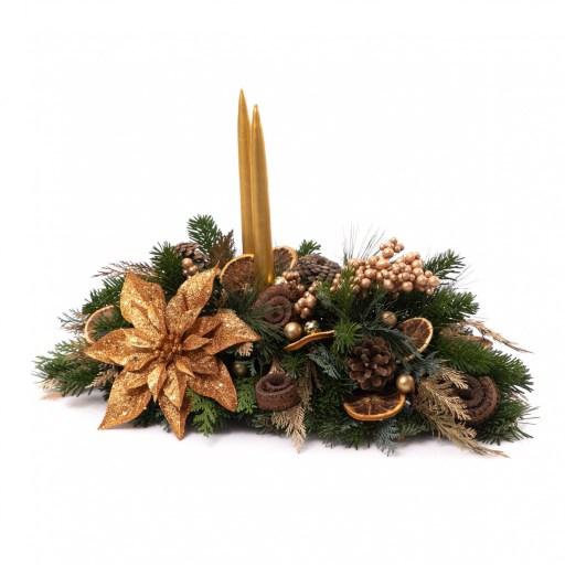 Decor masă de Crăciun 2020, Sclipiri de iubire: aranjament de Craciun aurit, doar 199 RON!