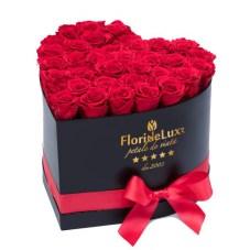 Cutie inima 35 trandafiri rosii, doar 319 RON