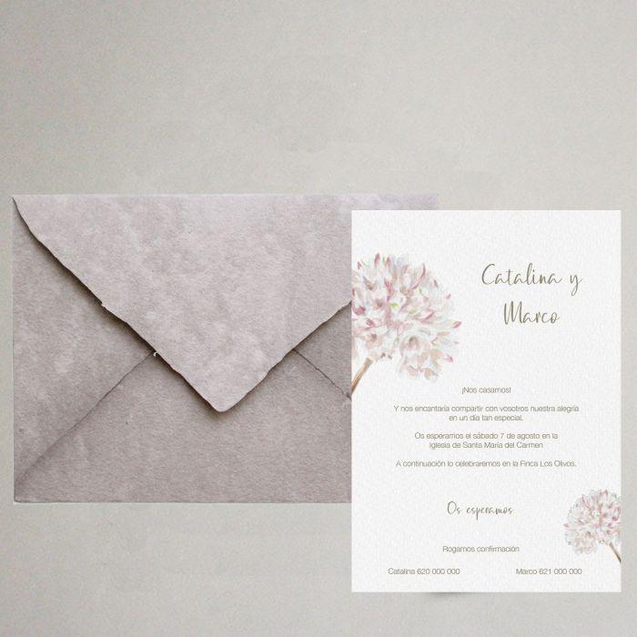 invitación de boda flor biznaga artesanal elegante