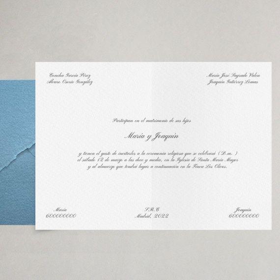 invitación clásica papel artesanal elegante boda