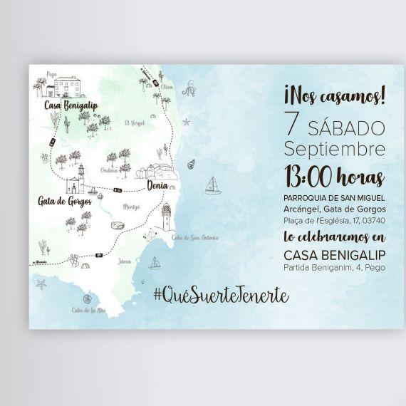 mapa invitación boda acuarela dibujo