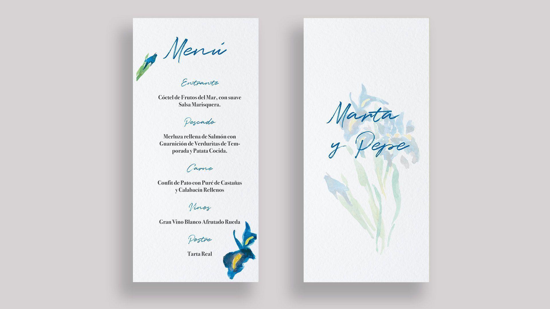 menu minuta lirios boda