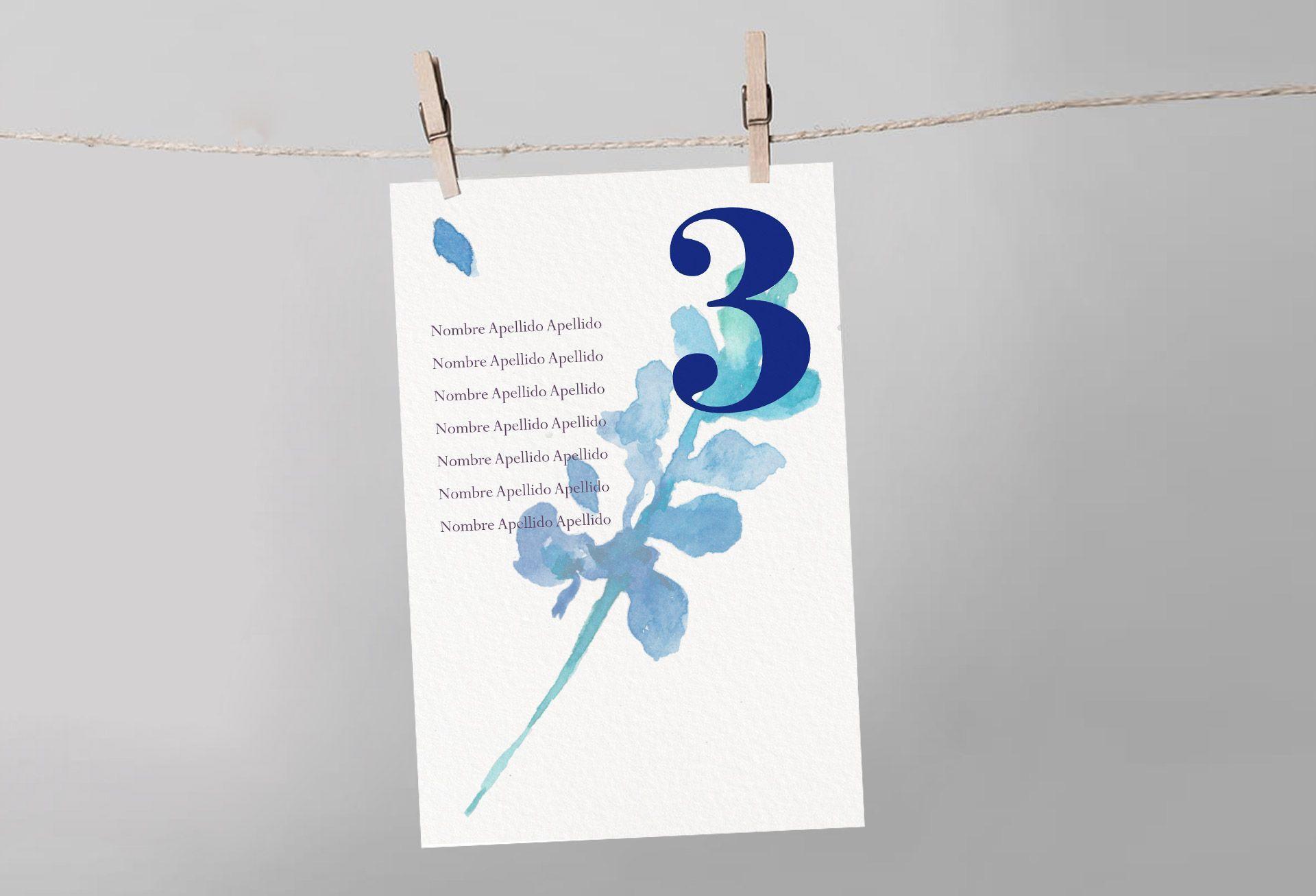 seating boda mesa flor desdibujada azul