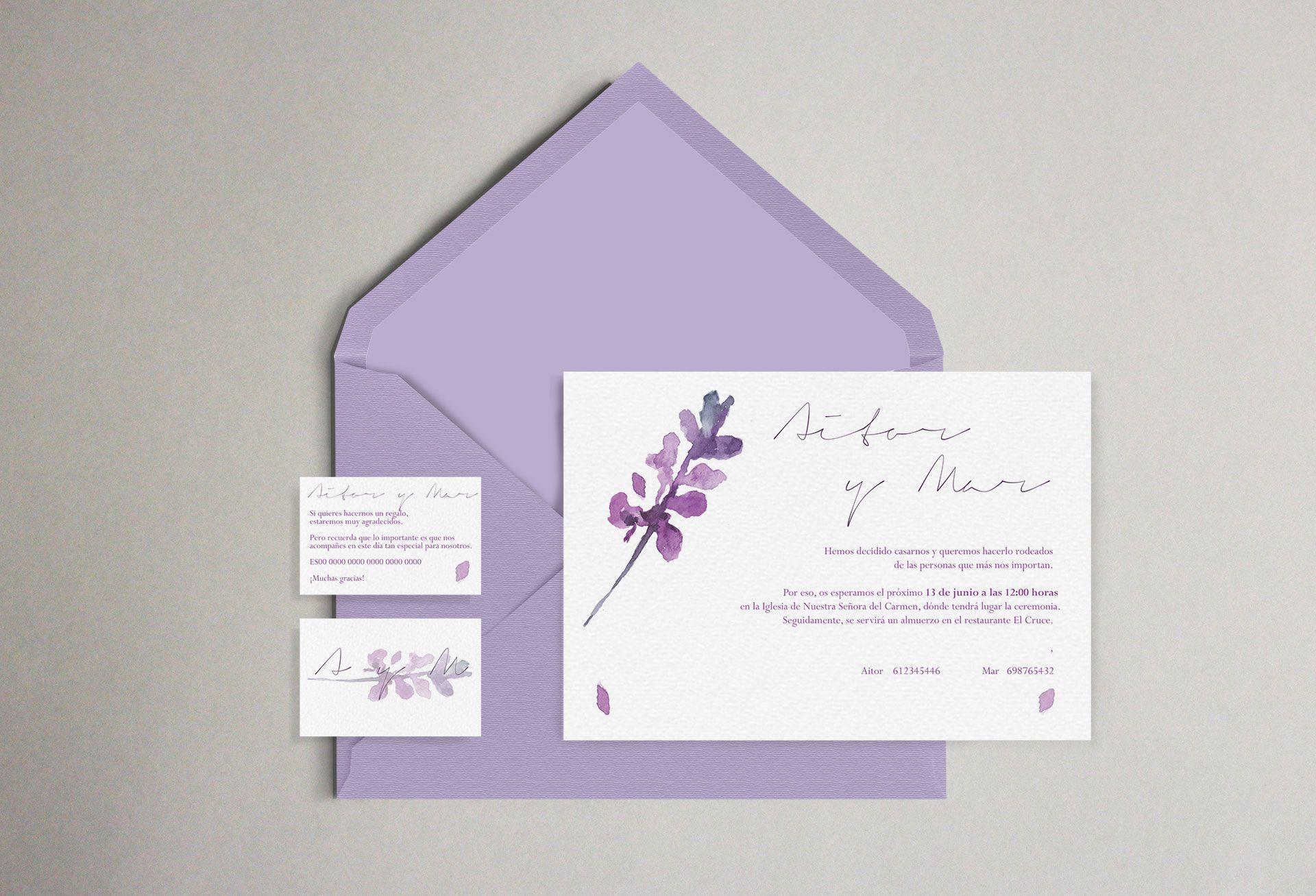invitación boda lavanda flor desdibujada acuarela