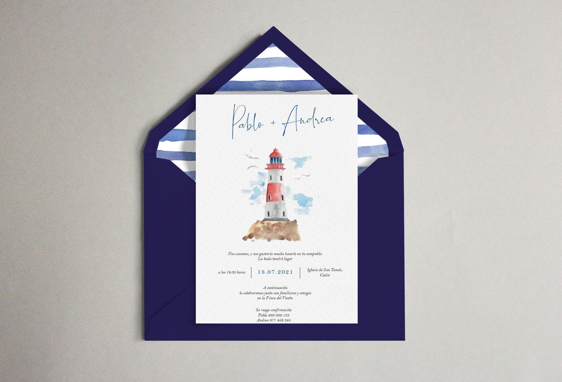 sobre invitación marinera faro mar