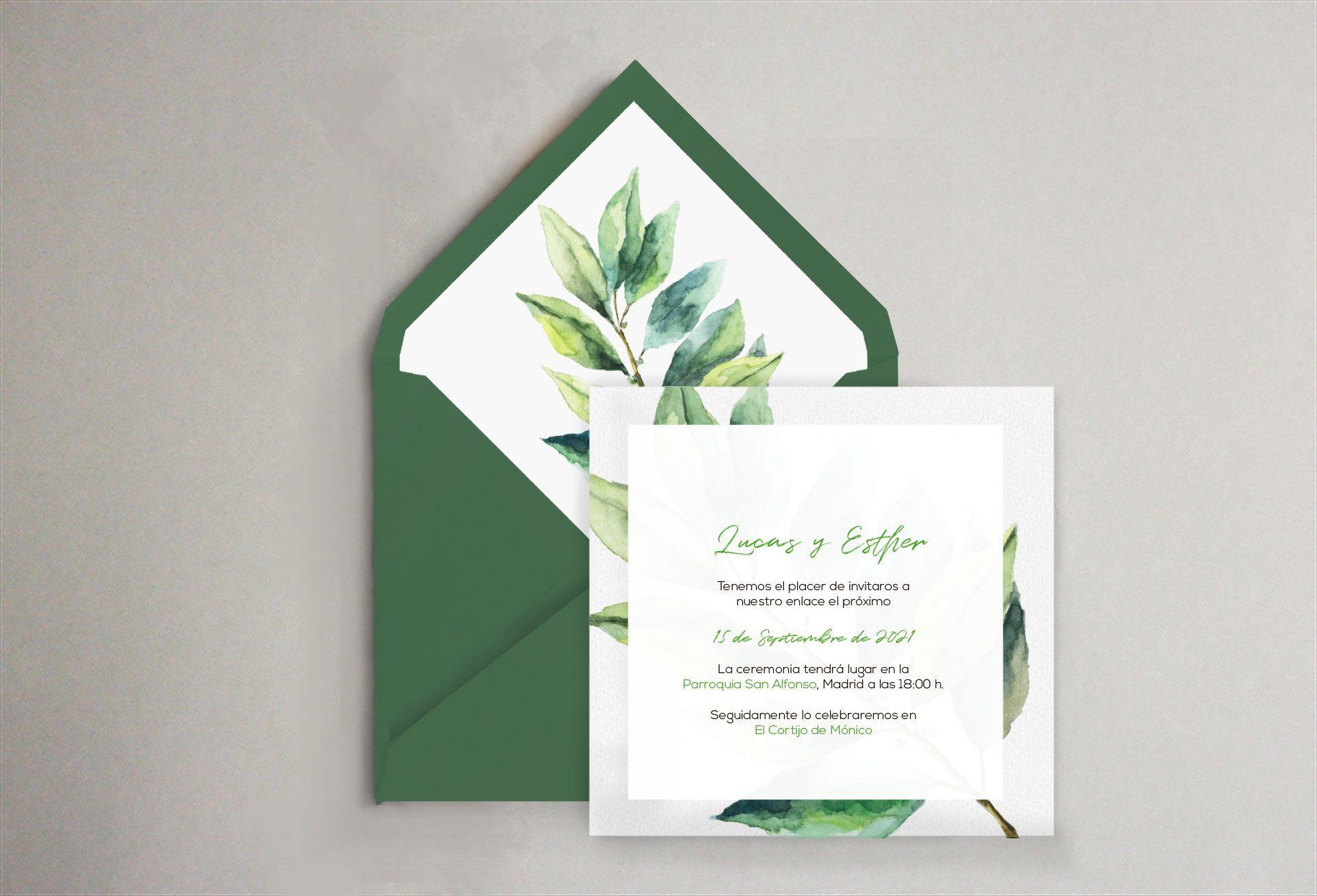 sobre verde hoja invitación boda