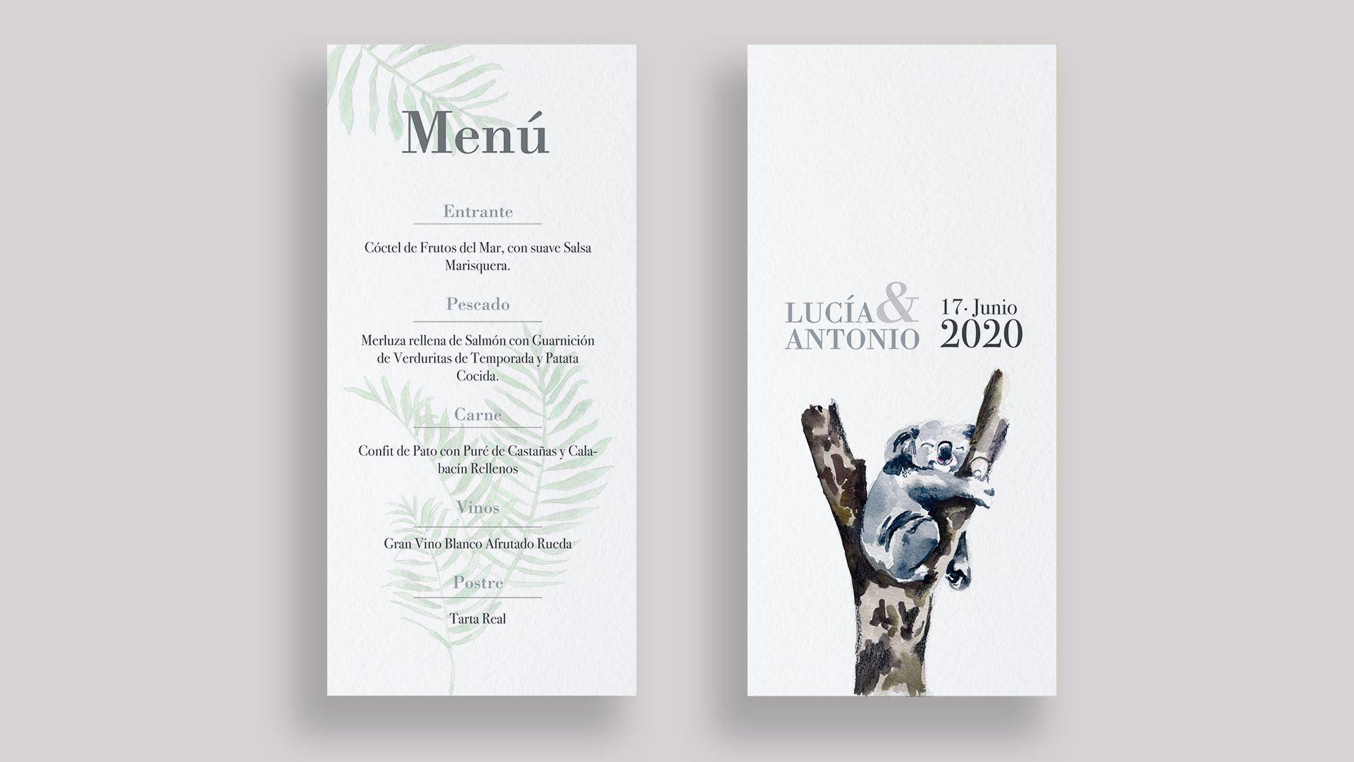 menu boda koala minuta acuarela