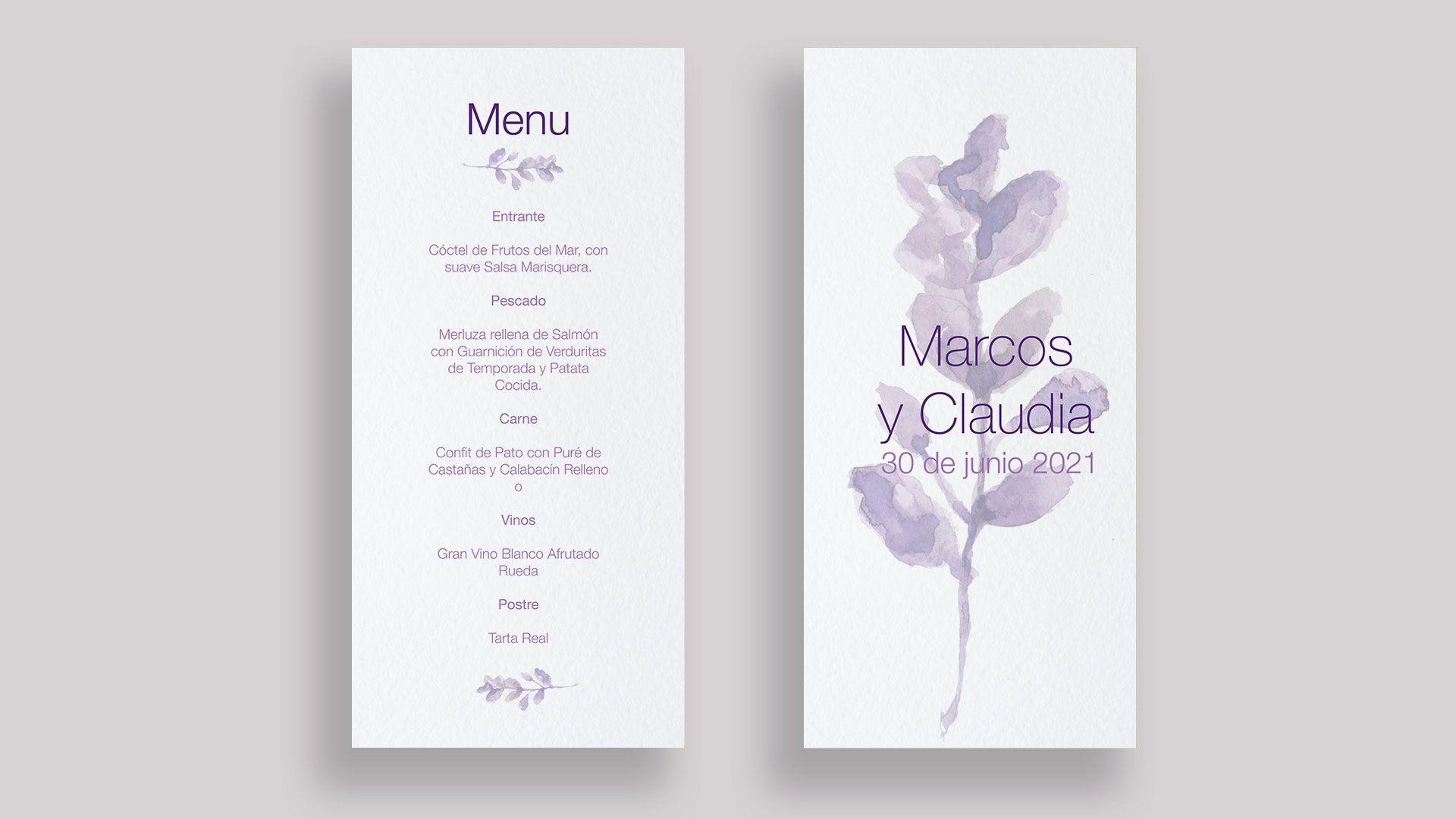 menu minuta lavanda boda flor