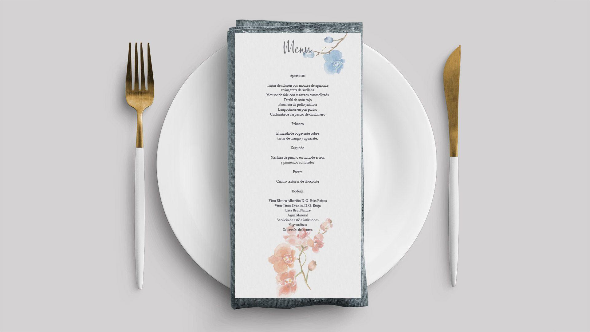 menu boda orquídea flor acuarela