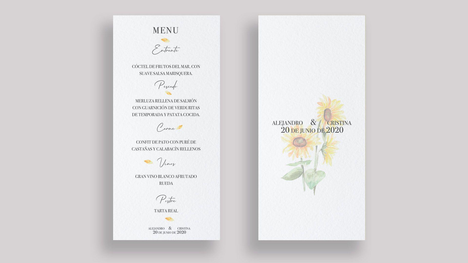minuta girasoles boda menu flor