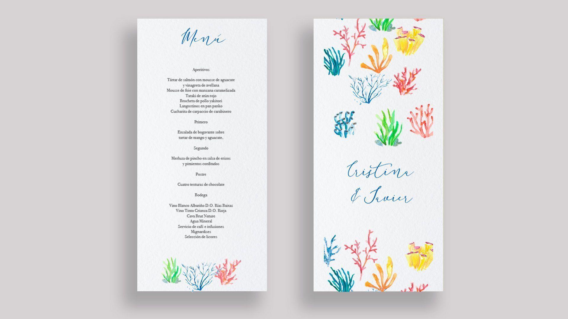 menu minuta corales mar boda