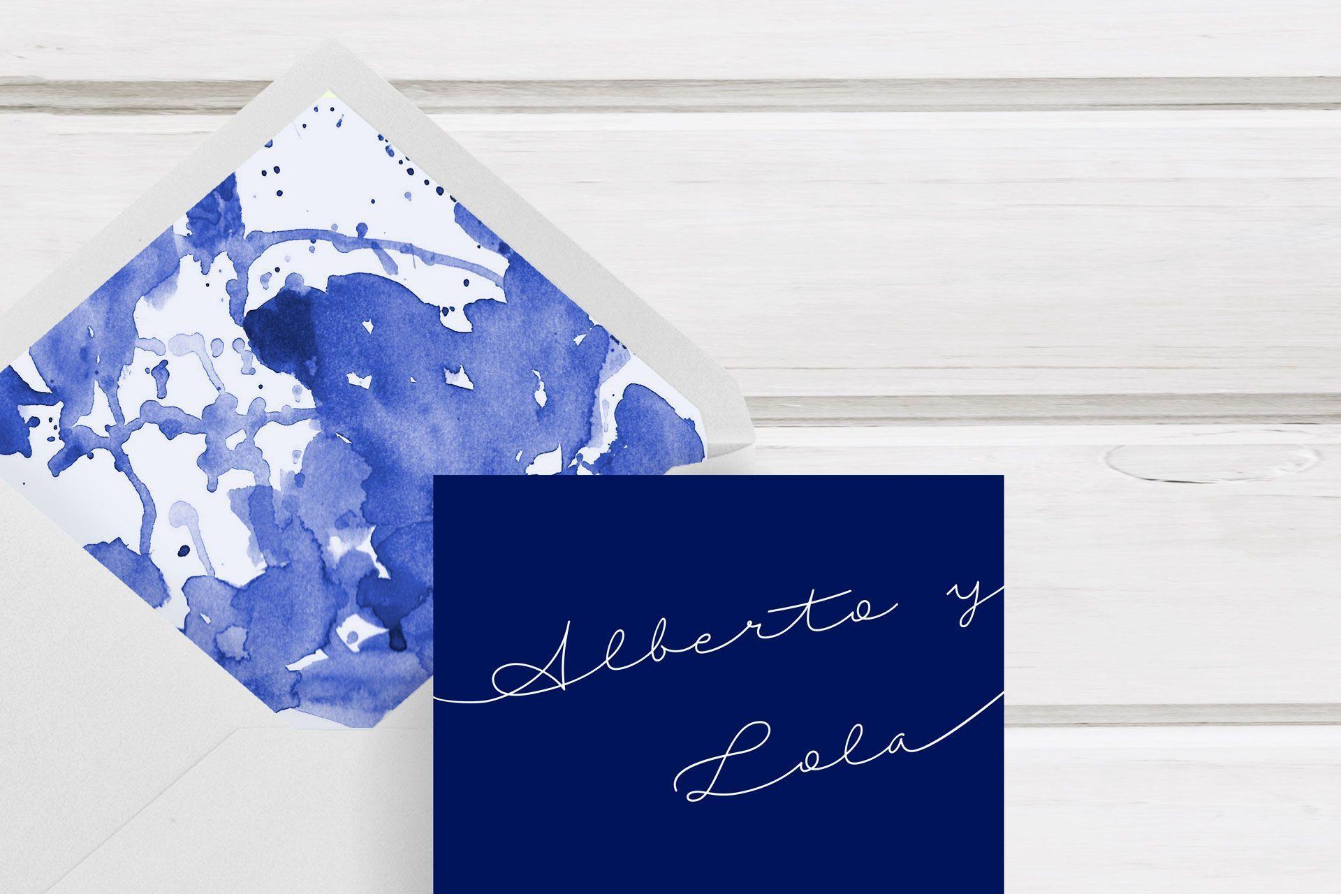 dos terrones invitacion boda azul y personal y unica
