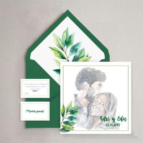 invitación verde personalizada original retrato acuarela