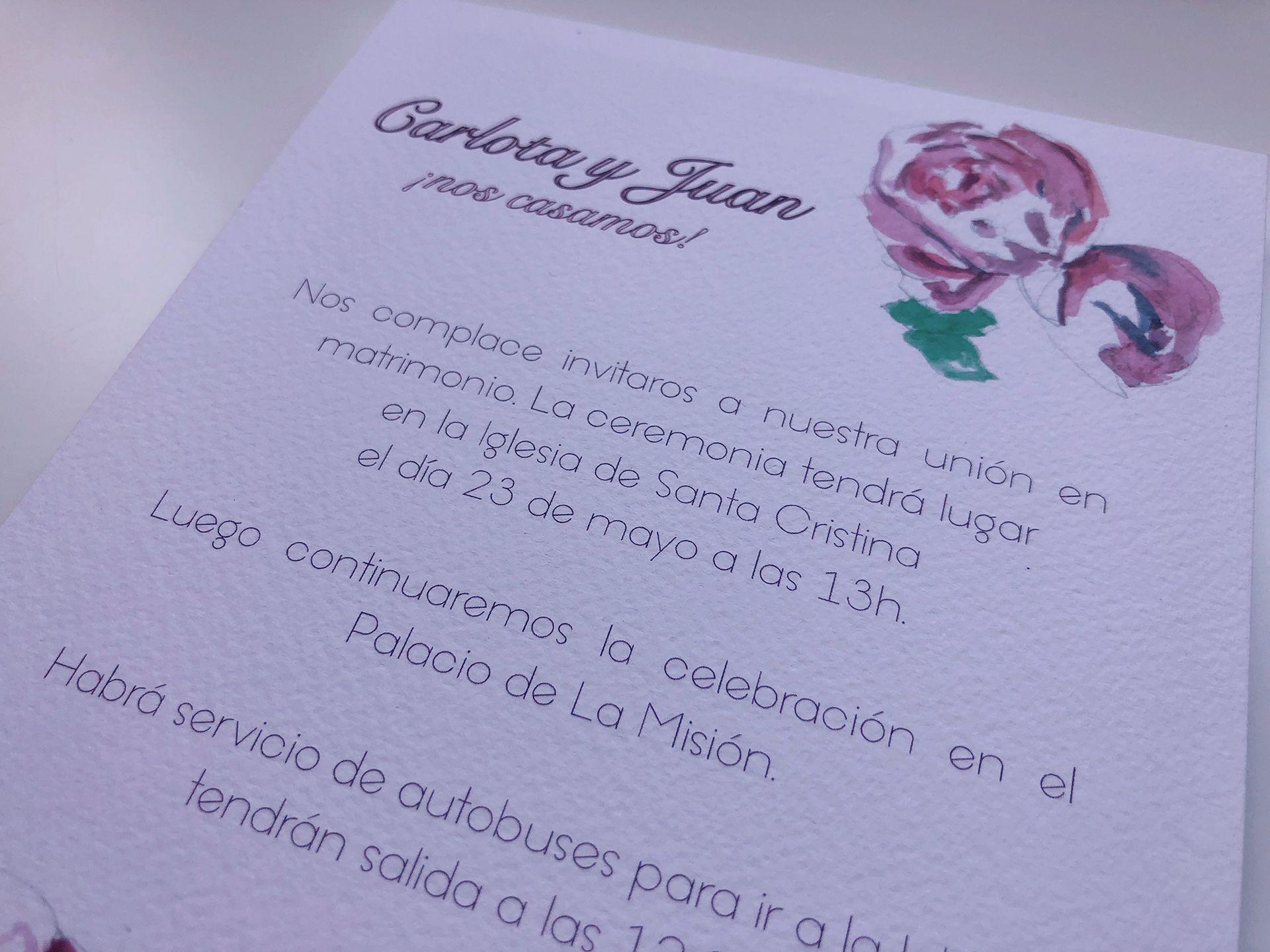INVITACION DE BODA personalizada y a medida