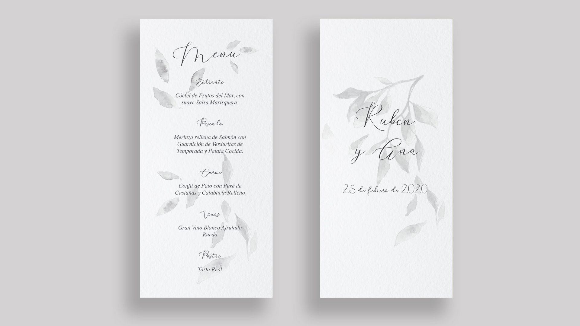 Minuta boda hojas grises