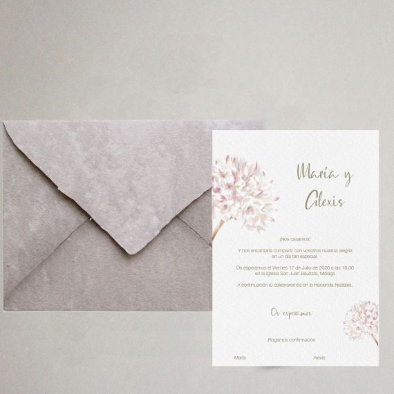 acuarela flor biznaga elegante boda