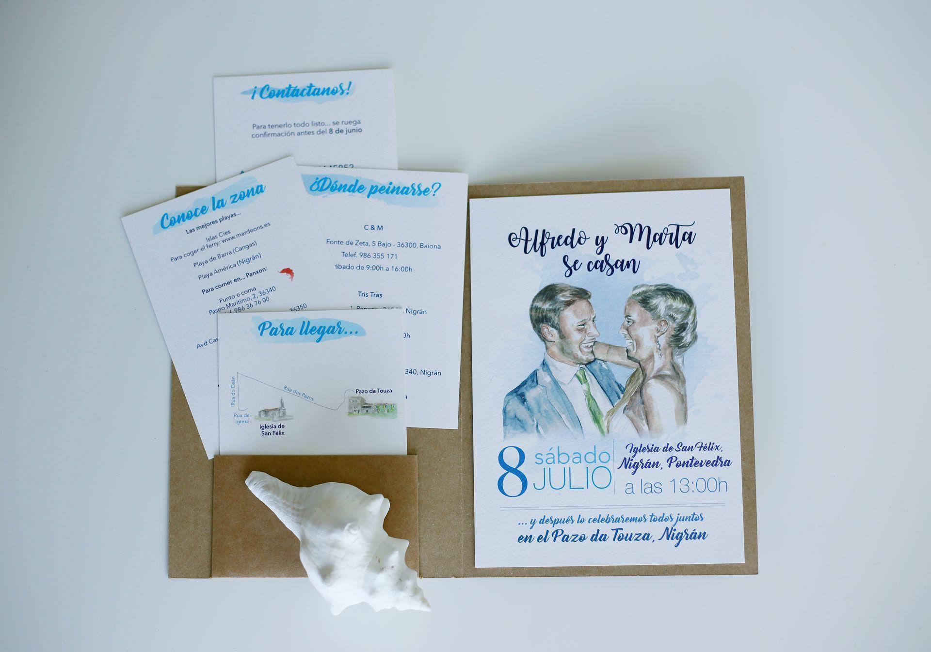 invitacion de boda personalizada con retrato en acuarela