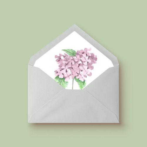 invitacion de boda acuarela hortensia rosa sobre forrado