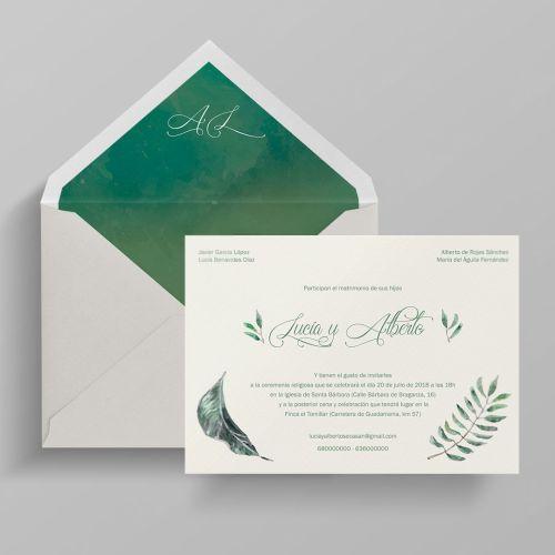 invitacion de boda naturaleza clasica dos terrones