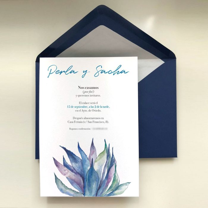 invitacion de boda personalizada de perla y sacha con inspiracion mexicana