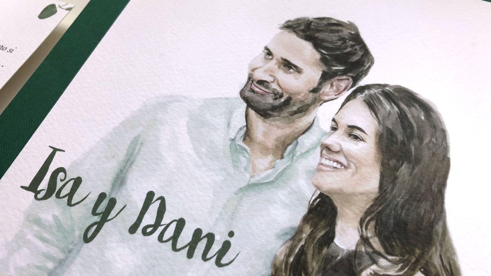 Invitación de boda personalizada con retrato de los novios