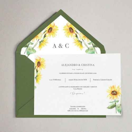 invitacion de boda artesanal con girasoles