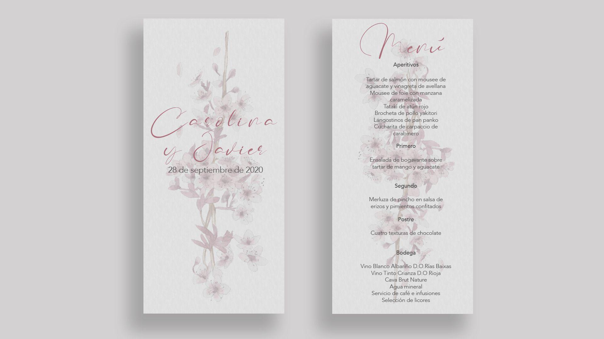 menu almendros boda