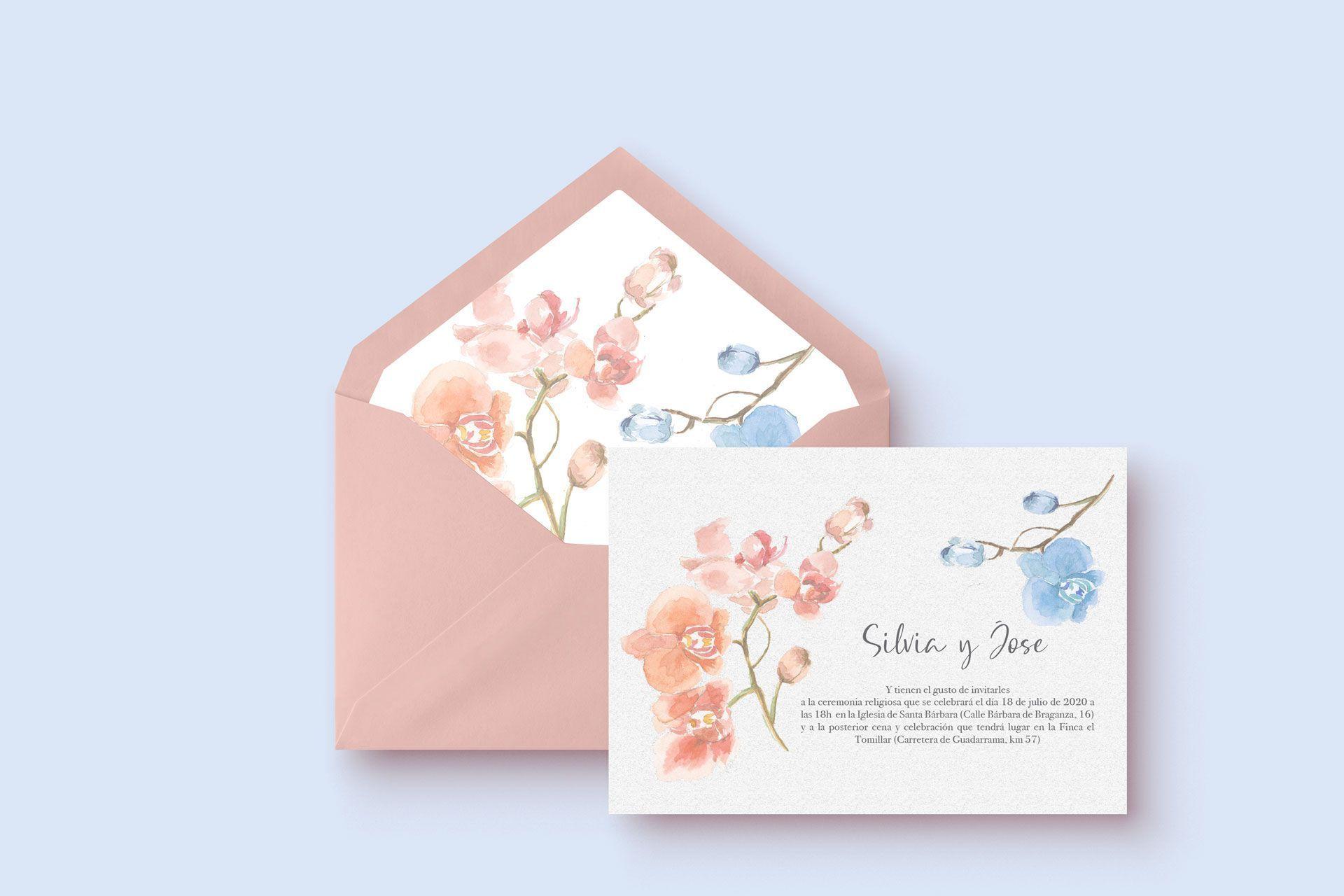 Invitacion de boda con acuarela de orquideas y sobre forrado a mano