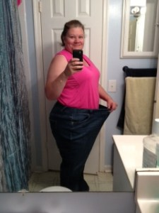 Me in my size 28 fat jeans. The photo doesn't do justice to how baggie those suckers are now. I'll try to get a better photo up when the hubby is home.