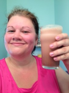 Hot and sweaty...having my first protein shake after my 4 mile walk.