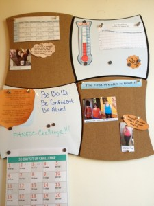 A work in progress, my little cork board keeps me focused on my goals and reminds me of my successes.