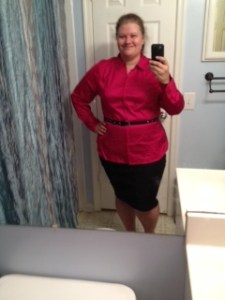Yes, I got a very conservative outfit for a business meeting...but it's a size 20 baby!