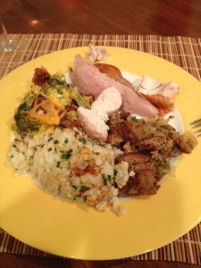 My healthy, low carb Thanksgiving plate: Turkey, broccoli casserole, cauliflower mash with chives and garlic and stuffing with sage and chives.