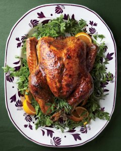 Want to keep your weight in check over the holidays? Then come up with a strategy that doesn't deprive but let's you walk away satisfied not stuffed. (Image: An awesome Turkey with Brown-Sugar Glaze via marthastewart.com)