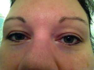 My first attempt at powder eyeliner. It was fairly easy applying it to my upper eyelid. My lower lid is another story.