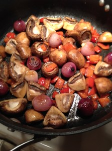 Ok, the mushrooms smelled wonderful while I sauteed it in butter with pearl onions and red pepper.