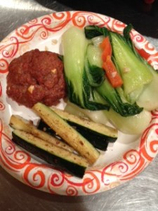 I made my first paleo recipe last night -- the delicious lamb & cumin burger with a size of sauteed zuchinni and bok choy.