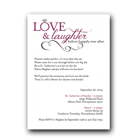 Love Amp Laughter Rehearsal Dinner Invitation Dot And Bow