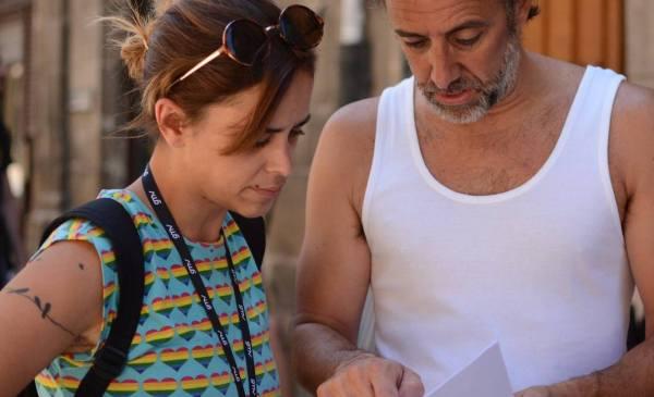 Iratxe Mediavilla con Asier Hormaza en el rodaje FOTO: Argi Filma
