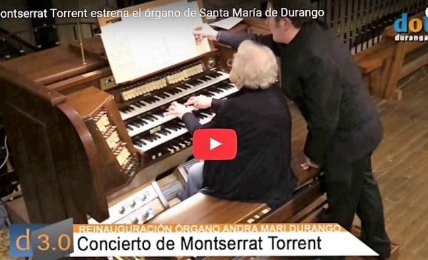 Momento del estreno del órgano ayer en la Basílica de Santa María FOTO: dotb.eus