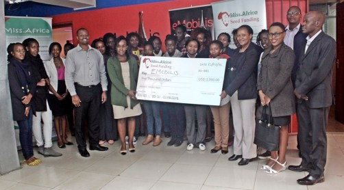 2015 Inaugural Grand Prize Seed Fund Winner eMobilis Kenya receiving the $5000 Grant
