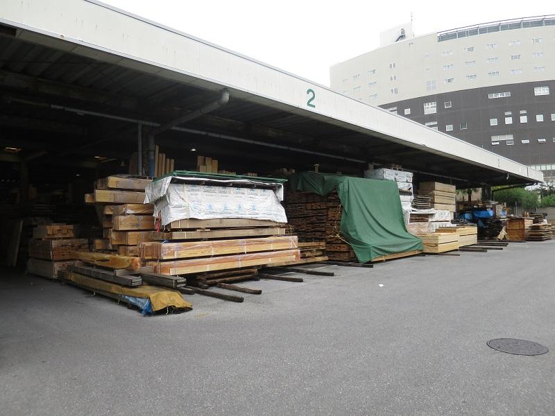 木材市場に木の視察