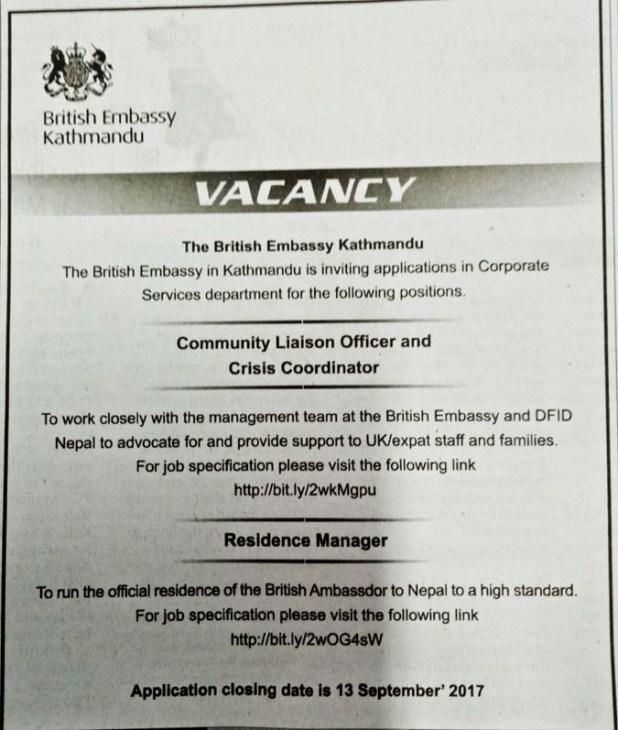 British Embassy Vacancy